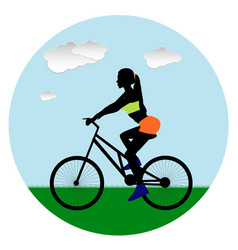 sport beautiful girl rides a bicycle in the vector image vector image