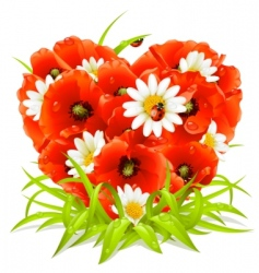 spring flowers in the shape of heart vector image vector image