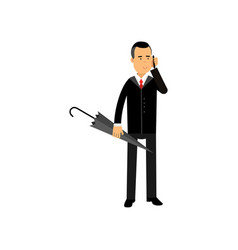 businessman talking on phone standing with vector image
