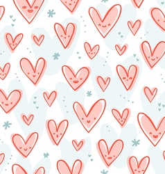 Happy pink hearts pattern vector image