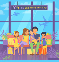 people goes to vacation sitting in airport vector image vector image