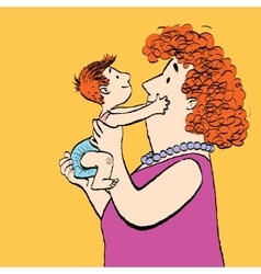 Red family mother and son vector image