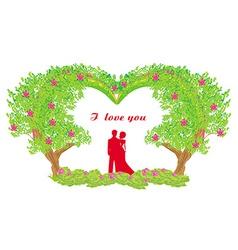 silhouette of romantic couple vector image