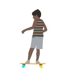 a little boy in a striped t-shirt skateboarding vector image