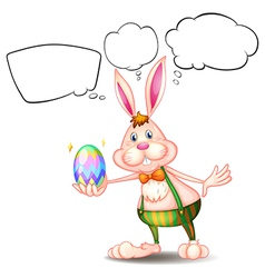 Cartoon Thinking Easter Bunny vector image