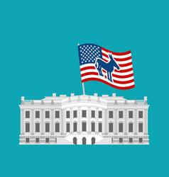 democrat win white house flag blue donkey vector image vector image