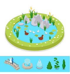 isometric city park composition with water pond vector image