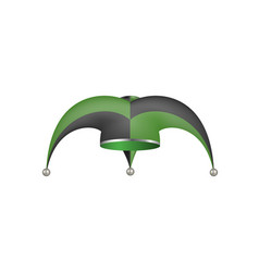 jester hat in black and green design vector image vector image