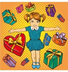 Little girl with presents and gift boxes Birthday vector image vector image