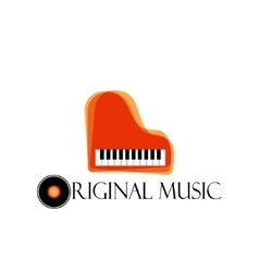 Orange music piano logo Jazz logo Color music vector image