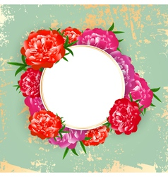 Peony Round Frame vector image vector image