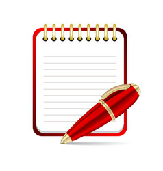 Red pen and notepad icon vector image