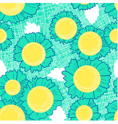 seamless pattern with daisy flowers background vector image