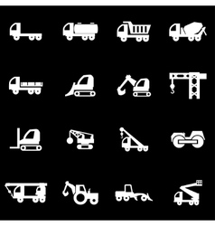 white construction transport icon set vector image vector image