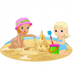 children at beach vector image vector image