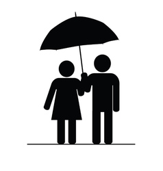 couple icon with umbrella vector image vector image