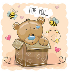 cute teddy bear in a box vector image vector image