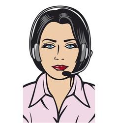 female helpline operator with headset vector image
