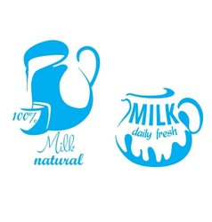 Jugs with natural milk vector image vector image