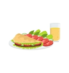 Omlet With Vegetables And Juice Breakfast Food vector image vector image