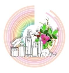 organic cosmetics on color diagram vector image
