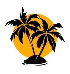 Tropical paradise palm trees and sun logo vector image