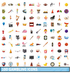 100 gamble set cartoon style vector