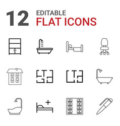 12 room icons vector