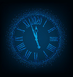 2020 new year card with classic clock on blue vector image