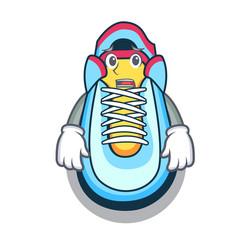 Afraid cartoon sneaker with rubber toe vector