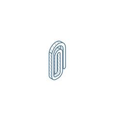 Attach paper clip isometric icon 3d line art vector