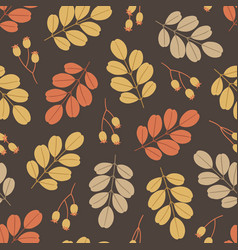 Autumn seamless pattern with leaves and berries vector