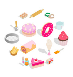 bakery set icons isometric 3d style vector image