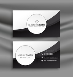 black and white business card in wavy style vector image