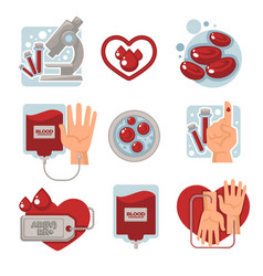 Blood donation and charity isolated icons vector