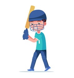 boy cricket player standing holding a bat vector image
