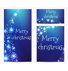 Bright banners bokeh style Merry Christmas vector image