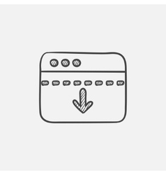 Browser window with arrow down sketch icon vector image