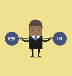 Businessman keeping balance between work and life vector