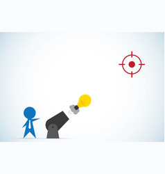 Businessman shoot light bulb from cannon vector