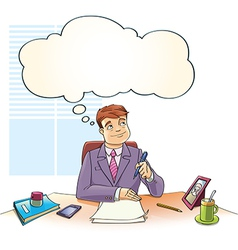 Businessman with the Thinking Bubble vector image