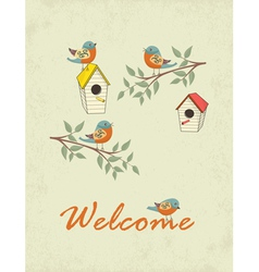 Card with bird house vector