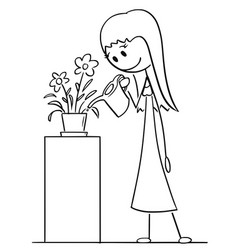 cartoon drawing of woman watering plant in pot or vector image