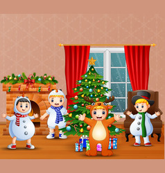 cartoon of kids wearing different costumes in the vector image