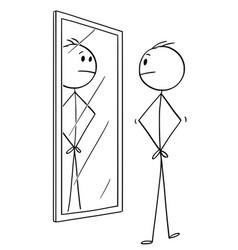 cartoon of man looking at himself in the mirror vector image