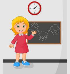Cartoon young girl standing front blackboard vector