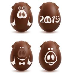 Chocolate pig symbol 2019 year set of christmas vector