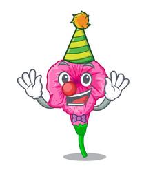 Clown petunia in a mascot flower basket vector