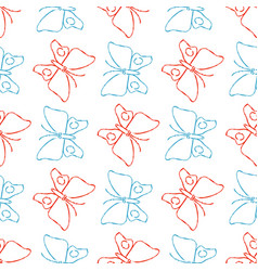 Color pencil sketch butterflies seamless pattern vector