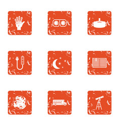 Contemplation icons set grunge style vector